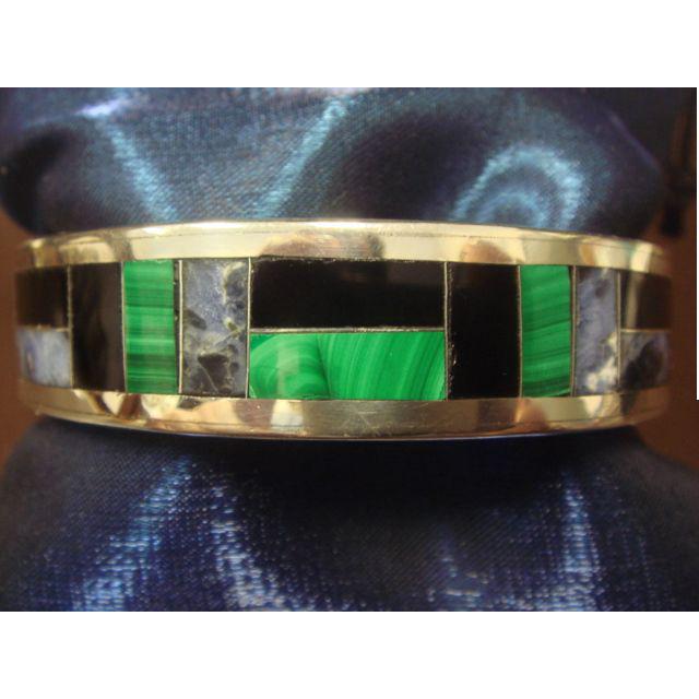 Wonderful Inlaid Stone Bracelet in 950 Silver