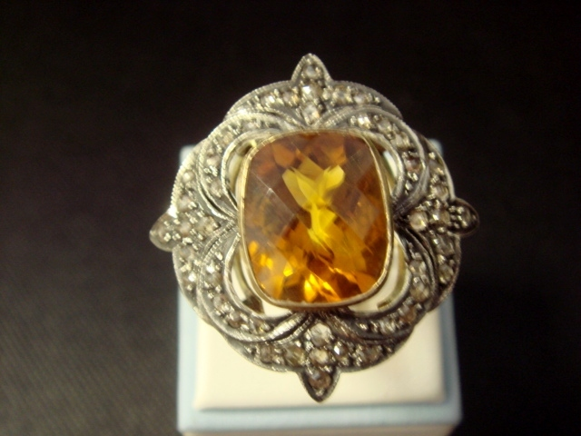 Glorious Art Deco Style Ring with Citrine and Diamonds