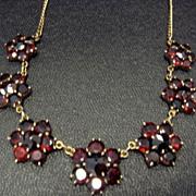 Pretty Garnet Necklace, Gold Over Brass