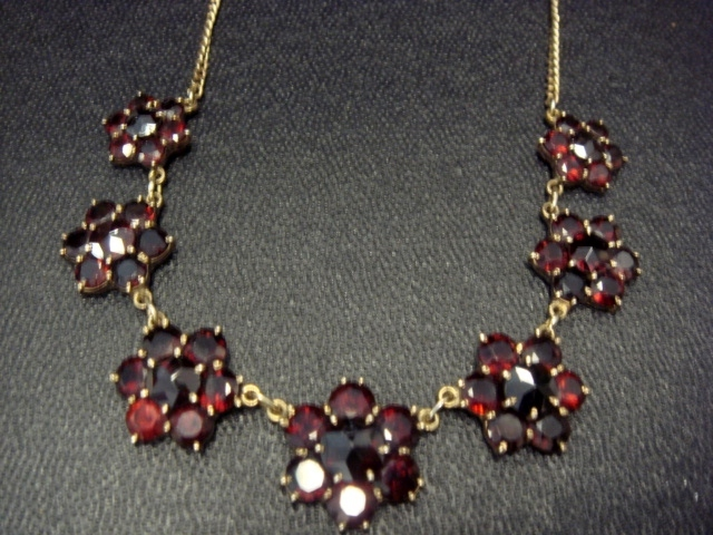 Pretty Garnet Necklace, Gold Over Brass