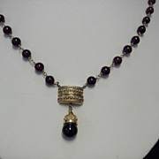 Unusual Garnet Necklace, c 1940's