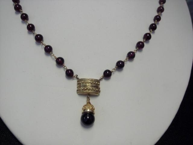 Unusual Garnet Necklace, c 1940's