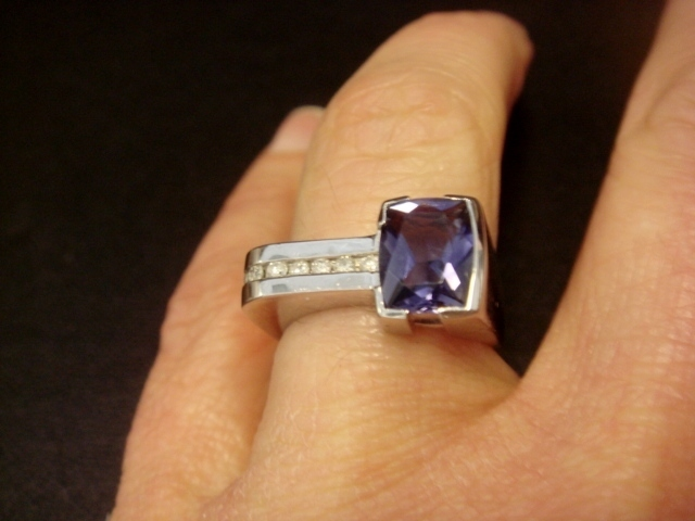 Fun, Assymetrical Iolite Ring with Diamonds