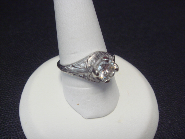 Early Art Deco Diamond Engagement or Dinner Ring, Platinum