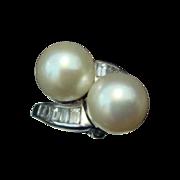 Pearl, Diamonds, and Platinum Ring c1980's
