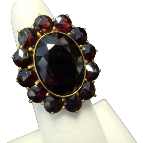 1930's Garnet Ring, 10K Yellow Gold