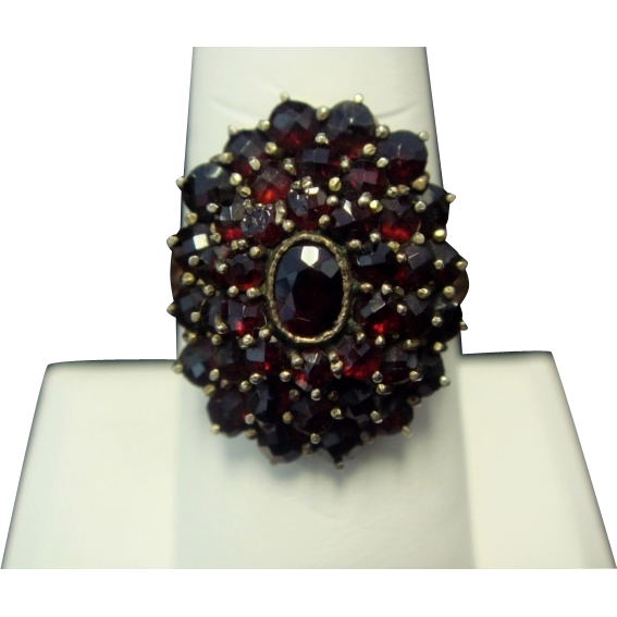 1930's Czech Garnet Ring, 10K Yellow Gold