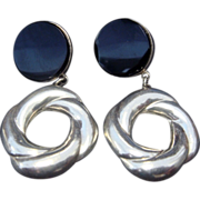 Signed Black Onyx and SS Earrings