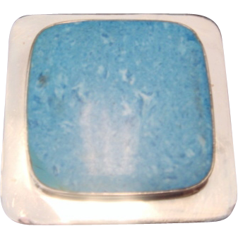 Wonderful Blue Stone and SS Mexican Pin/Pendant
