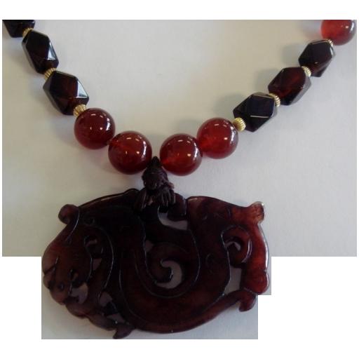 Neva Burba Jade, Carnelian, & Sardonyx Pendant Necklace