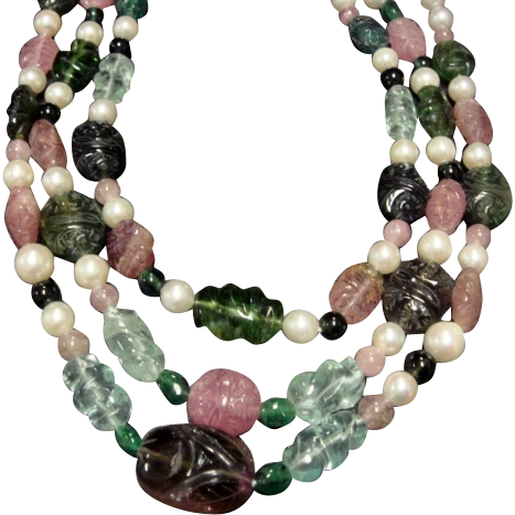 Stunning Pearl, Tourmaline, Emerald & Aqua Triple Strand