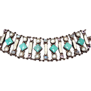 Pearl, MOP, Turquoise, Moonstone, & Amethyst Bracelet