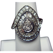 Breathtaking Teardrop Diamond Ring, 14K