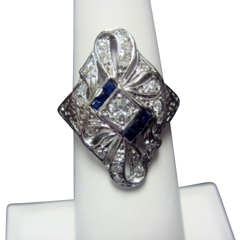 18K Art Deco Dinner Ring, with Diamonds and Sapphires
