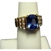 Classic Tanzanite and Diamond Ring, 14K Gold
