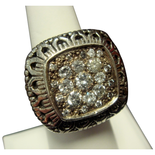 Wonderful Woven Sterling Ring with Diamonds