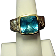 Scott Kay Blue Topaz Ring, in SS and 18K