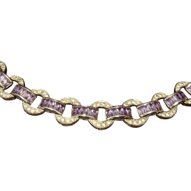 Fun Lilac and White Cubic Zirconia Bracelet