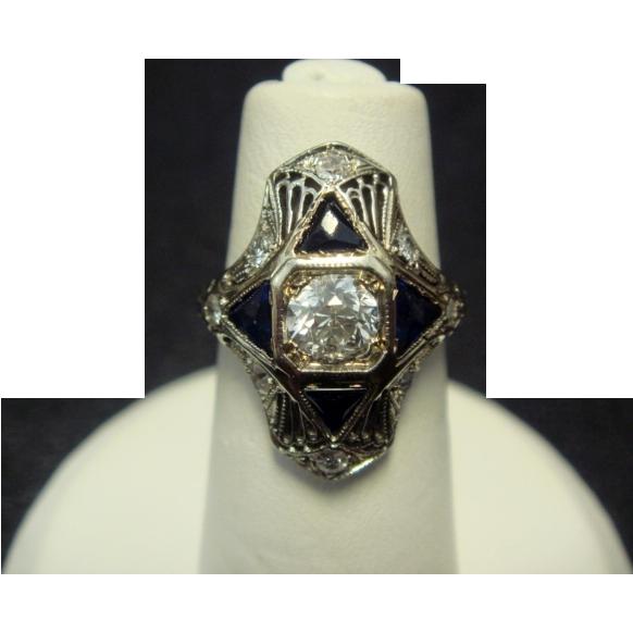 18K Diamond and Sapphire Art Deco Ring