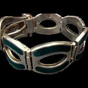 SS Buckle Bracelet, Green Enamel
