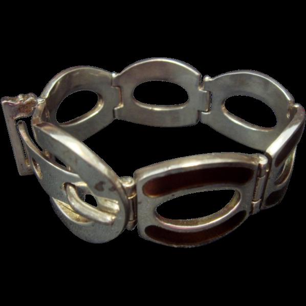 SS Belt Buckle Bracelet, Brown Enamel