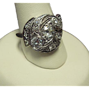 Smart Mid-Century Diamond Cocktail Ring in 14K Gold