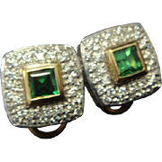 Sophisticated Tsavorite and Diamond Earrings in 14K Gold