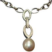 South Sea Pearl and Diamond Necklace in 14K Gold