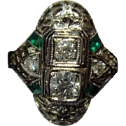 Lovely 18K Art Deco Diamond Dinner Ring with Emeralds