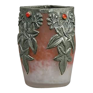 Art Nouveau Stunning Glass Vase, Pewter Overlay - FRANCE