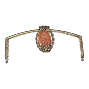 Art Nouveau Purse Frame with Large Carved Antique Carnelian