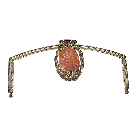 Art Nouveau Purse Frame with Huge Carved Antique Carnelian