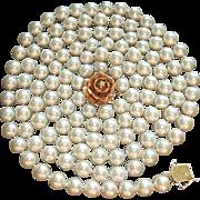 "Gorgeous 50"" Strand 8 - 8.5mm Cultured Pearls, Custom 14K Diamond Clasp, Circa 1950 ESTATE"