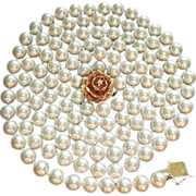 "Gorgeous 50"" Strand 8 - 8.5mm Cultured Pearls, Custom 14K Diamond Clasp, Circa 1950 ESTATE"