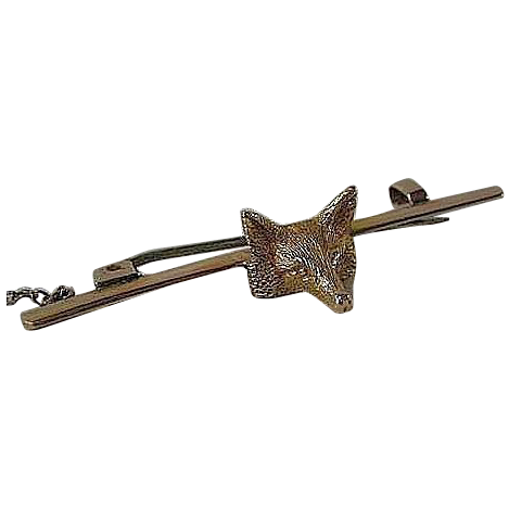 Wonderful Victorian Fox Masked Bar Pin, 15Ct Yellow Gold