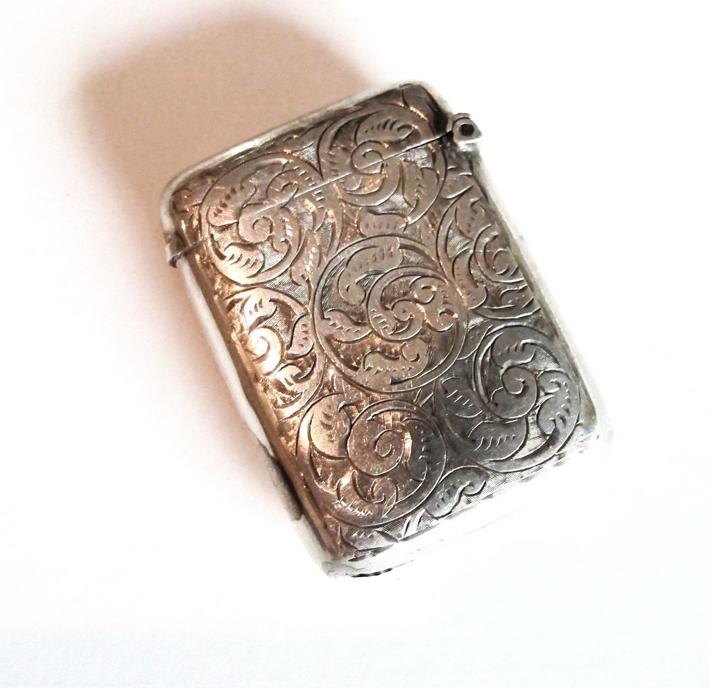 Engraved Sterling Match Strike - Chester, Circa 1908