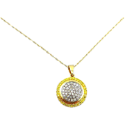 18K Fancy Yellow and Clear Diamond Pendant on Chain