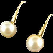 Fine South Sea Pearl Earrings - 14mm - 14K Gold
