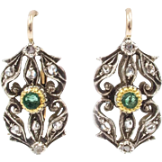 Diamond and Emerald Earrings, 15/16K Gold - Edwardian