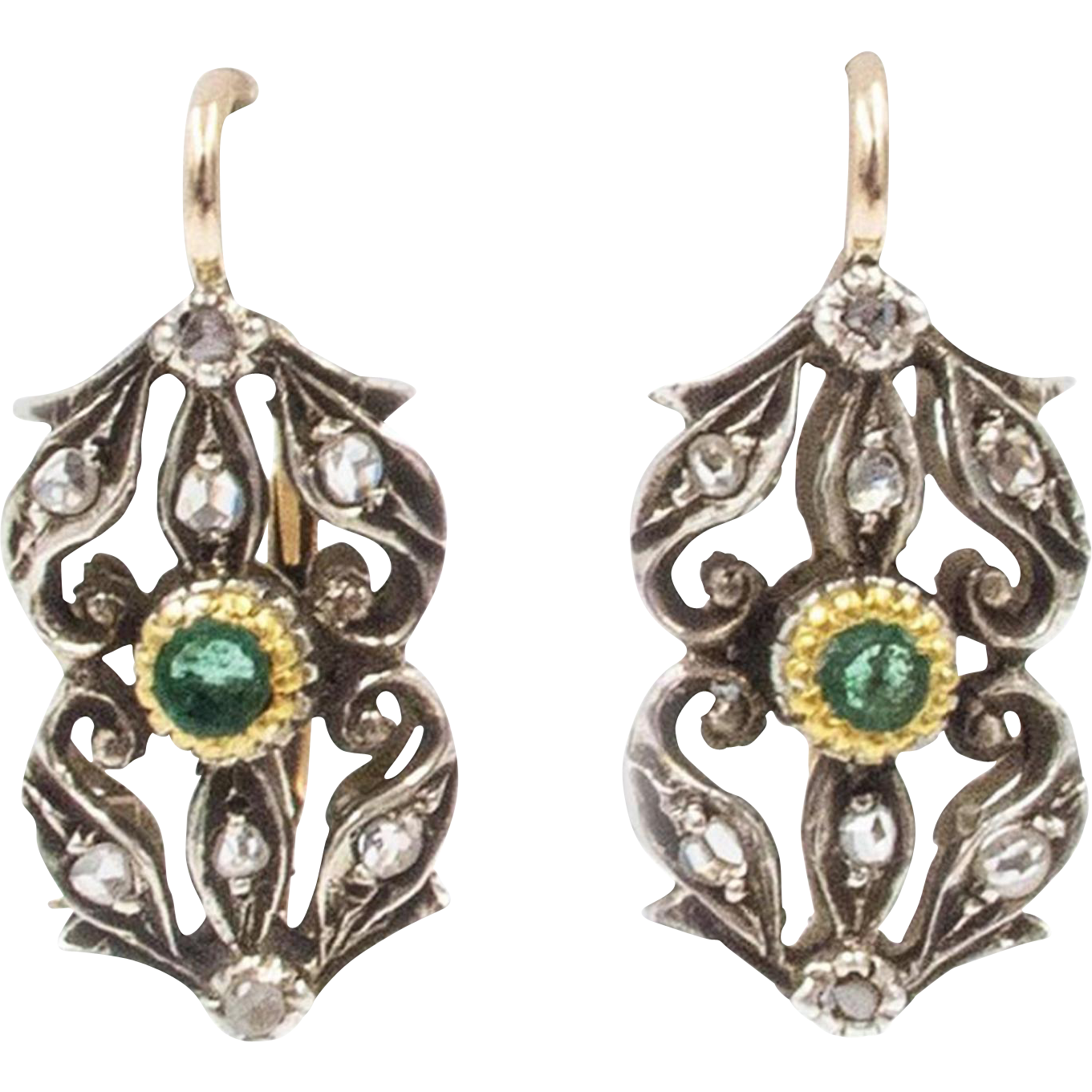 Edwardian Diamond Emerald Red Gold Earrings