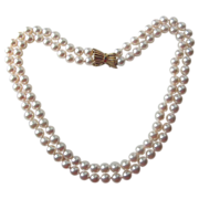 Fine Double Strand Japanese Akoya Cultured Pearls, 14K Gold Clasp