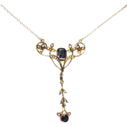 19th Century Art Nouveau Amethyst and Pearl Lavaliere, 15K