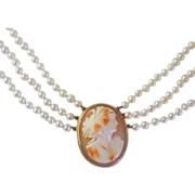 Victorian Cameo Necklace by Birks with Three Strands of Gorgeous Cultured Pearls