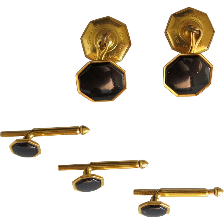 Mens Formal Cufflinks and Button Set, Early 20th Century