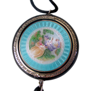 Figural Enameled Compact,  Sterling Silver  - Early 20th