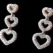 Diamond Hearts Drop Earrings - 14K Vintage