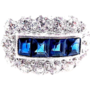 Sapphire and Diamond Ring - Art Deco, Platinum -  2.75 Carats