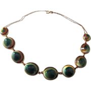 Operculum Set Necklace, 9K Gold - Early 20th