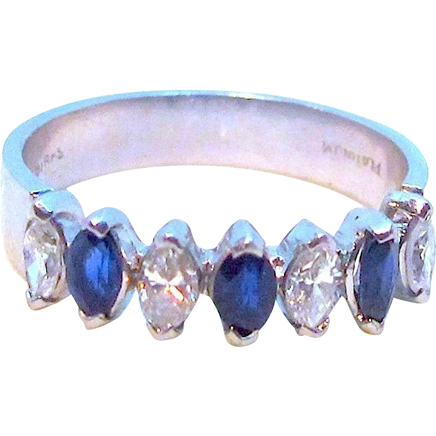 Birks Platinum 1.40 carat Diamond and Blue Sapphire Ring