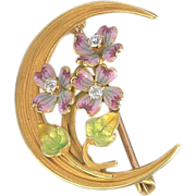 Art Nouveau Enamel, Diamond Crescent Brooch - 14K Gold